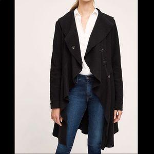 Anthropologie 100% wool ruffled coat